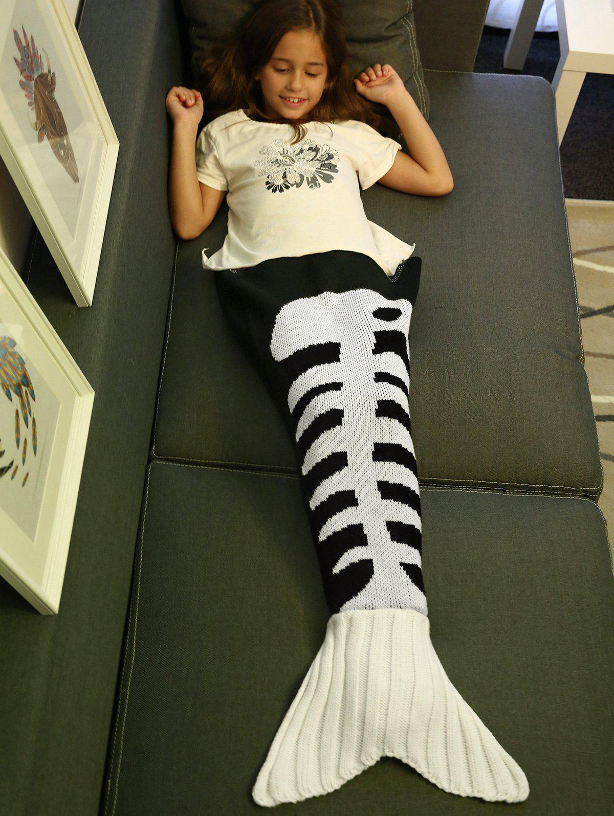 ComfortableFishbone Kintted Mermaid Tail Blanket For Kids - WHITE/BLACK S