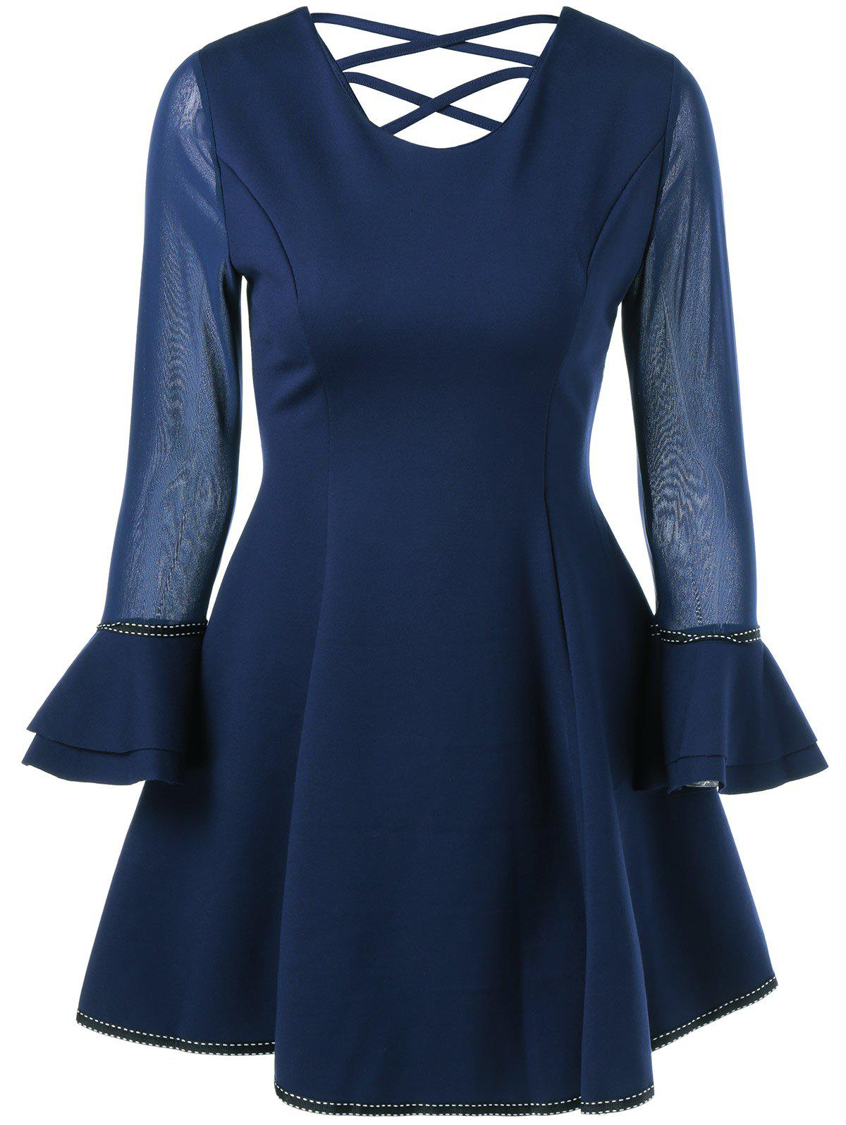 Crossback Bell Sleeve Fit and Flare Dress