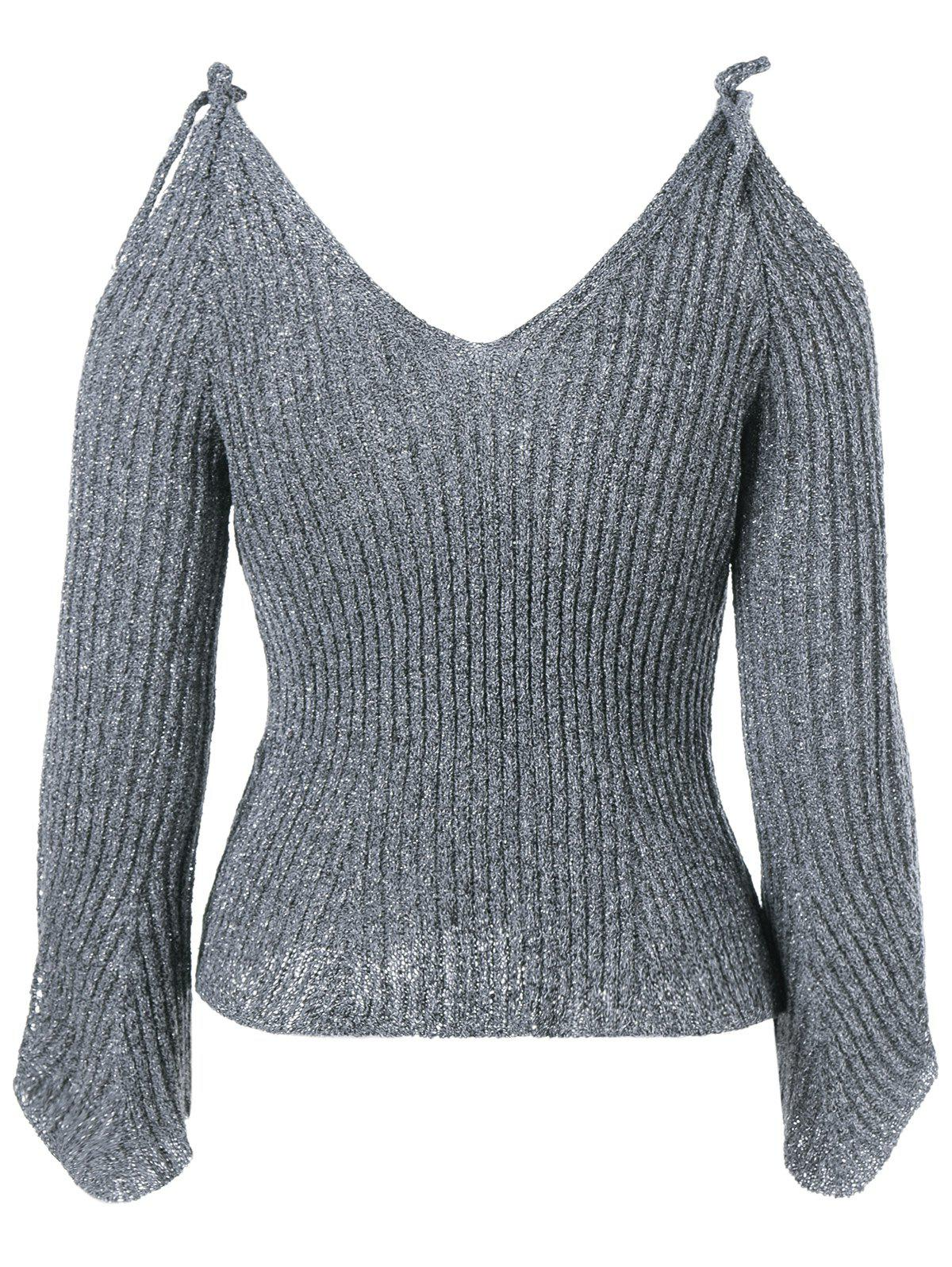 V Neck Cold Shoulder Pullover Sweater - DEEP GRAY ONE SIZE