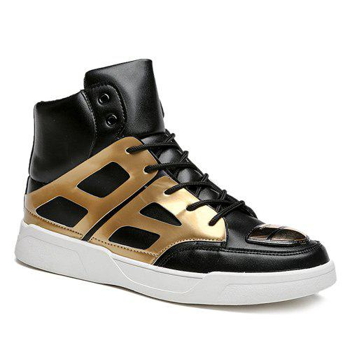 Lace-Up Patent Leather Spliced Boots - GOLDEN 40