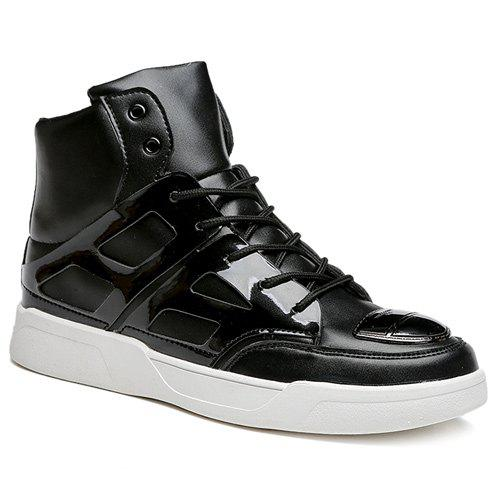 Lace-Up Patent Leather Spliced Boots - BLACK 44
