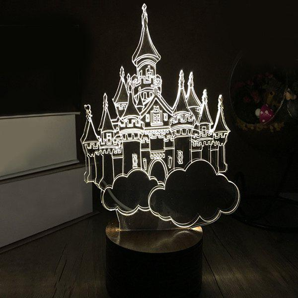3D LED City of Sky Wooden Sleeping Night Light - WHITE