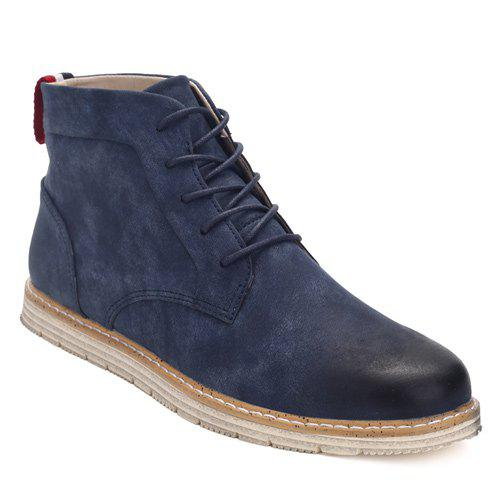 PU Leather Stitching Lace-Up  Ankle Boots - BLUE 44