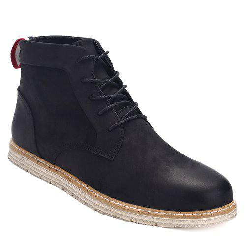 PU Leather Stitching Lace-Up  Ankle Boots - BLACK 43
