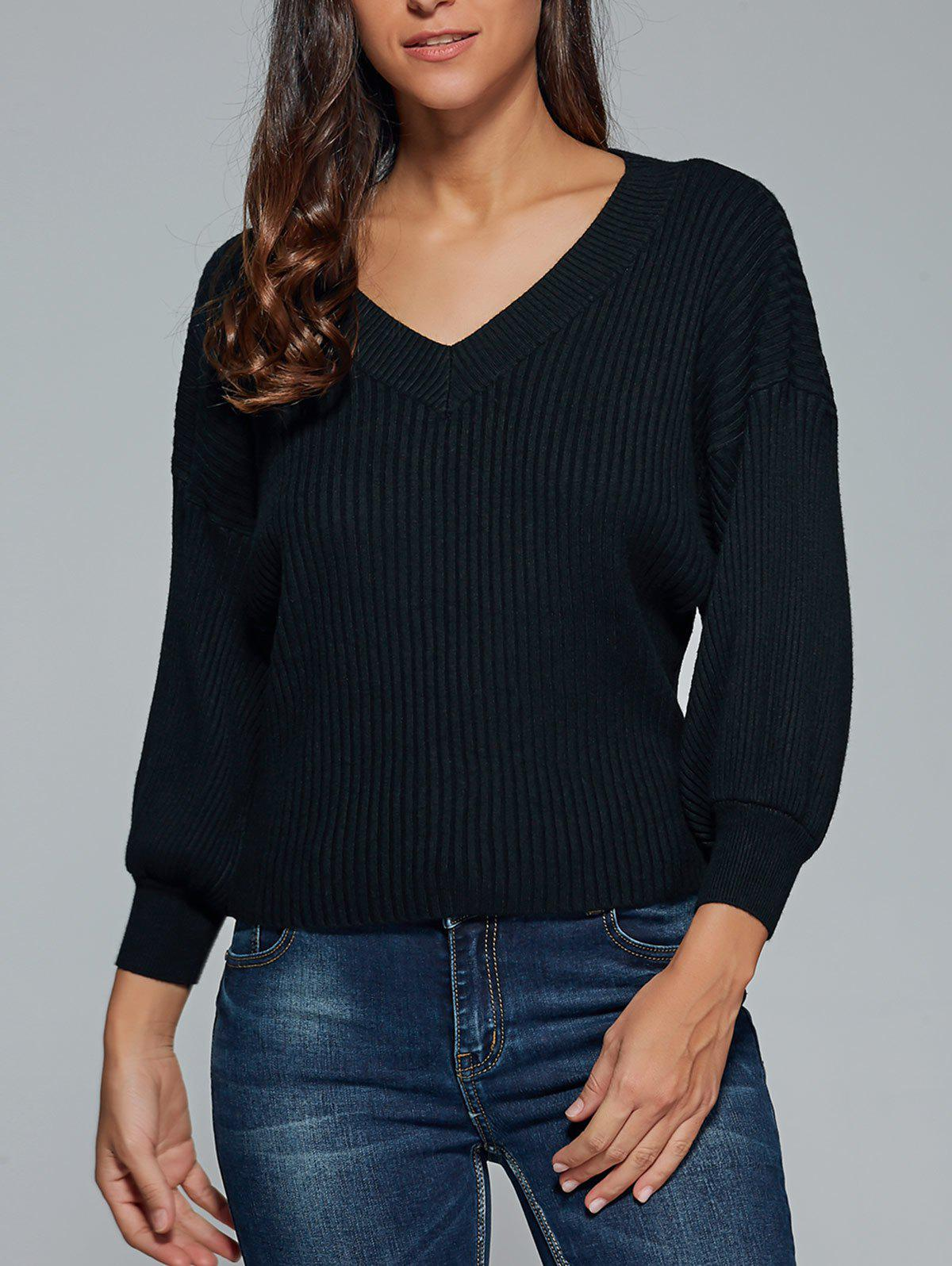 V Neck drop Sleeve Pull - Noir ONE SIZE