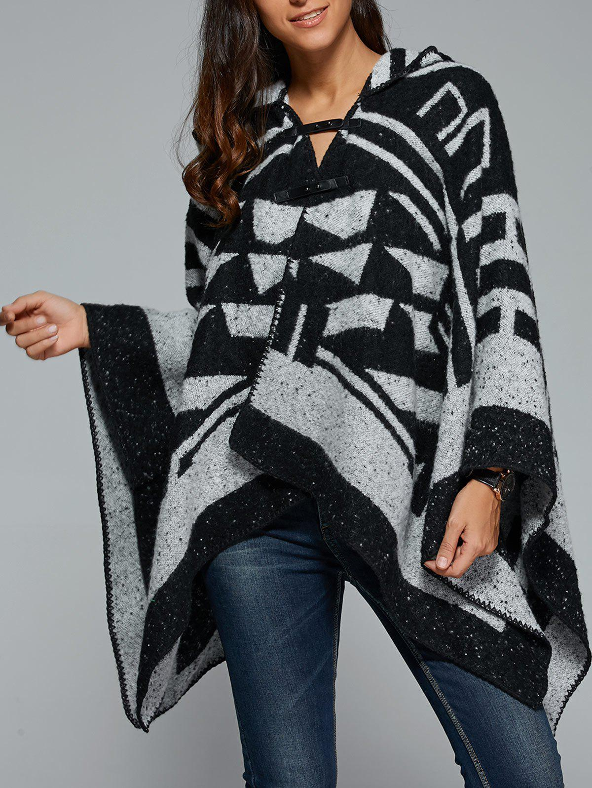 Geometrical Hooded Asymmetrical Cape - BLACK/GREY ONE SIZE