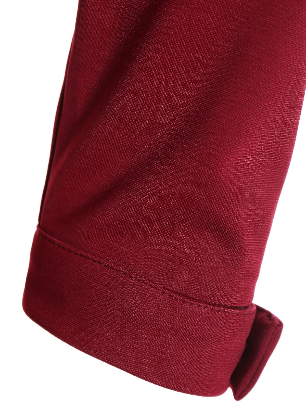 Buttoned Belted Bodycon Sheath Dress - WINE RED L