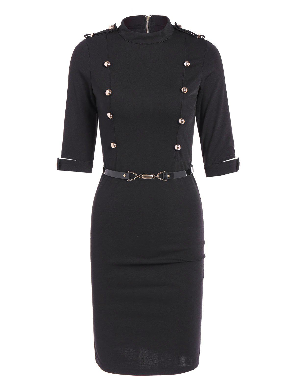 Buttoned Belted Bodycon Sheath Dress - BLACK L