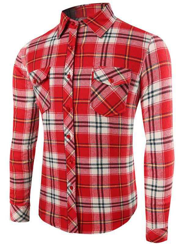 Long Sleeve Button Up Plaid Pattern ShirtMen<br><br><br>Size: 2XL<br>Color: WATERMELON RED