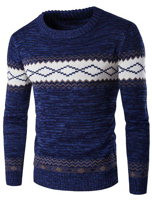 Geometric Crew Neck Space Dyed Sweater - CADETBLUE M