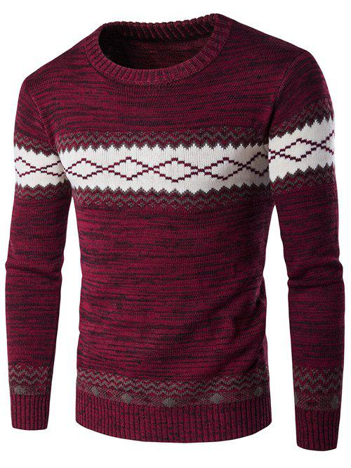 Geometric Crew Neck Space Dyed Sweater - WINE RED M