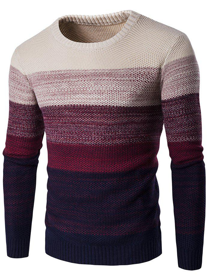 Gradient Color Crew Neck Sweater - WINE RED L