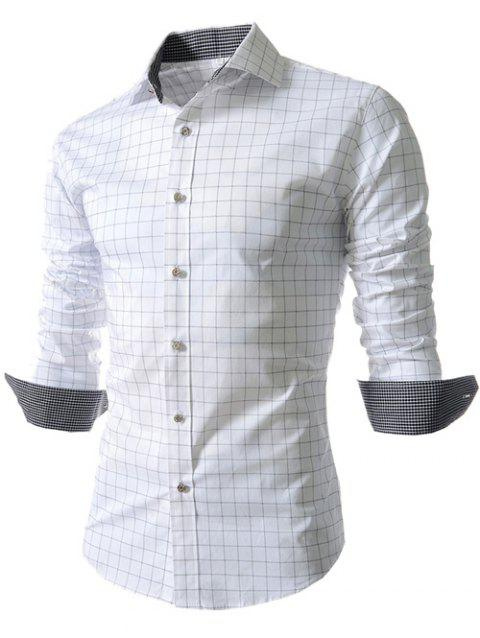 Long Sleeve Gingham Pattern Shirt - WHITE M