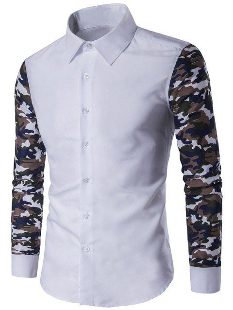 Bouton Shirt Up Camouflage Sleeve - Blanc 3XL