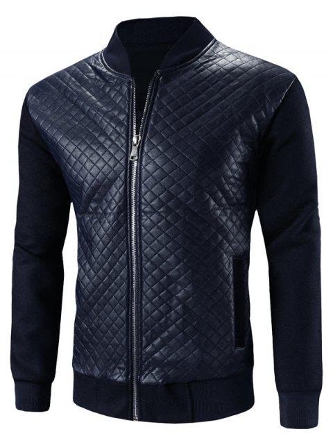 Stand Collar Zip-Up Argyle PU-Leather Splicing Design Jacket - BLUE 3XL