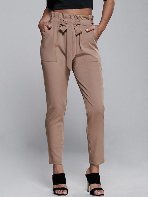 High Waisted Belted Slimming Narrow Feet Pants - KHAKI S