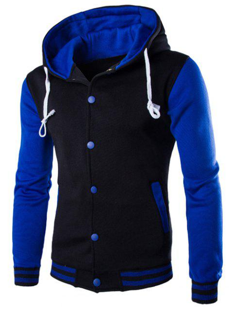 Hooded Single-Breasted Drawstring Stripe Rib Splicing Hoodie - BLUE M