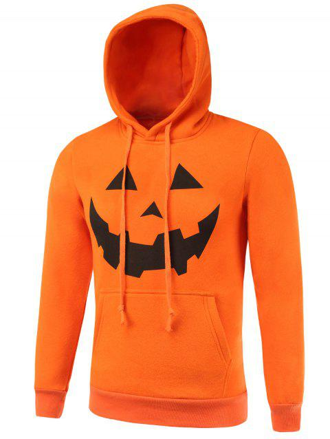 Drawstring Kangaroo Pocket Hallowmas Hoodie - ORANGE XL