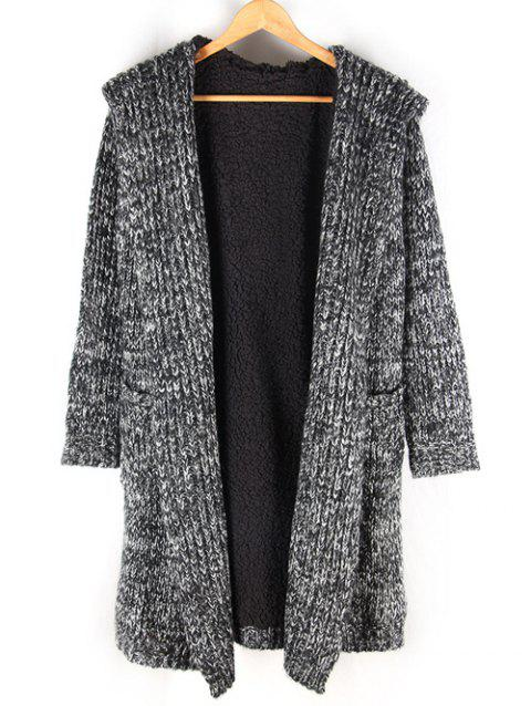 Fleece Lined Heathered Pocket Front Hooded Cardigan - BLACK M