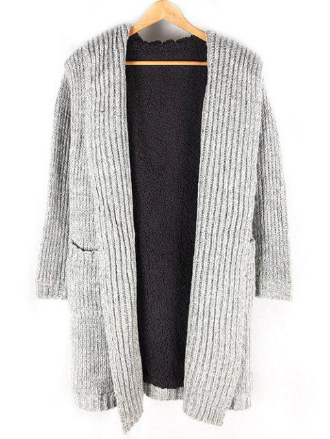 Fleece Lined Heathered Pocket Front Hooded Cardigan - GRAY L