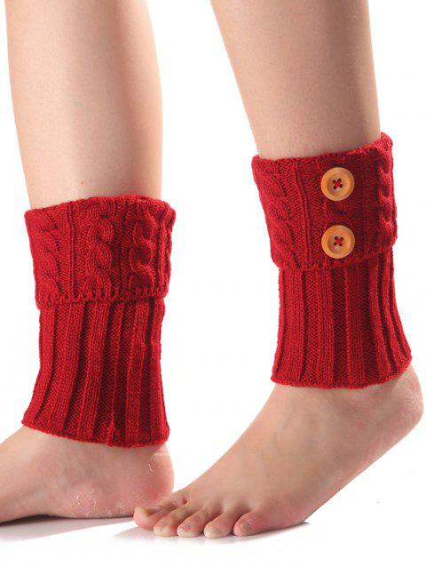 Warm Buttons Flanging Knit Boot Cuffs - RED
