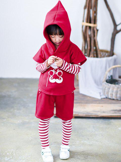 Striped T Shirt + Faux Twinset Pants + Beard Printed Hoodie - RED 100