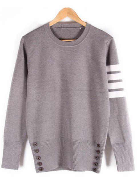 Ribbed Button Embellished Crew Neck Sweater - GRAY XL