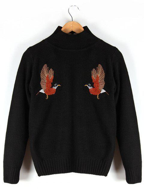 Ribbed Stand Collar Embroidered Sweater - BLACK M