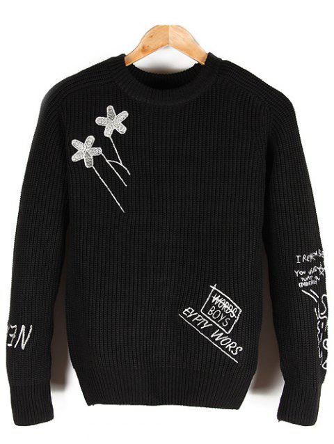 Crew Neck Embroidered Pullover Sweater - BLACK L
