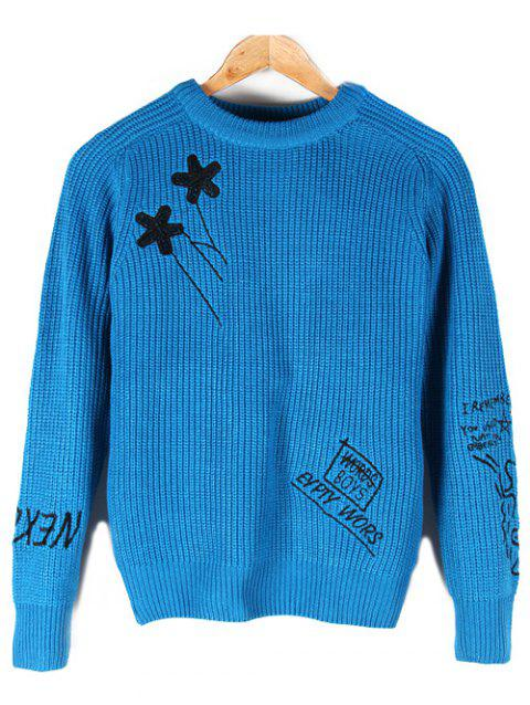 Crew Neck Embroidered Pullover Sweater - LIGHT BLUE L