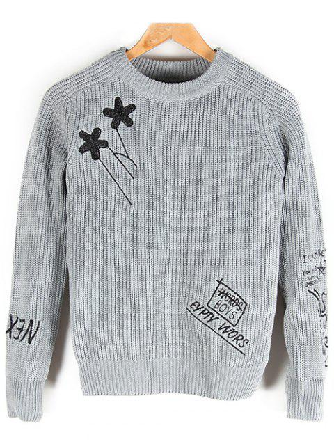 Crew Neck Embroidered Pullover Sweater - GRAY M