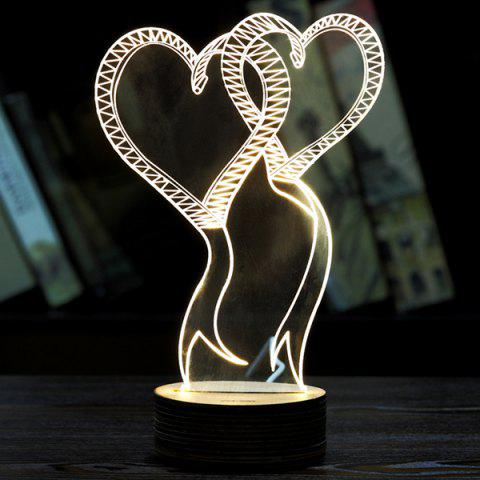 3D LED Double Love Wooden Base Sleeping Atmosphere Visual Night Light - WHITE