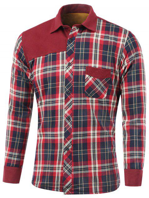 Tartan Spliced ​​design Fleece shirt col rabattu - Rouge XL