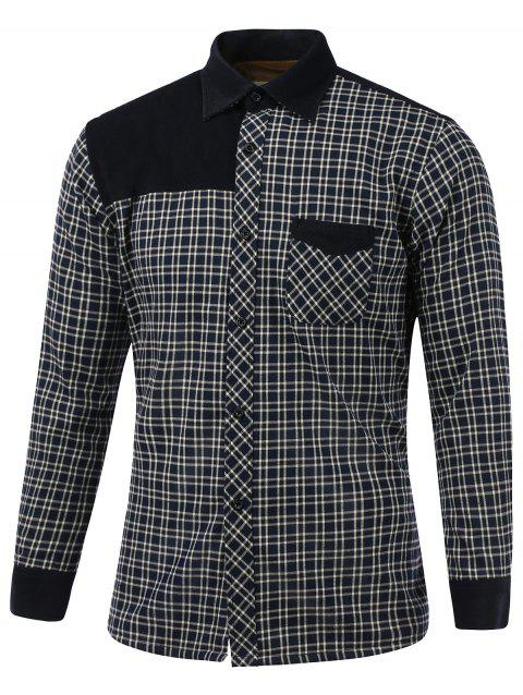 Tartan Splicing design Fleece shirt col rabattu - Noir M