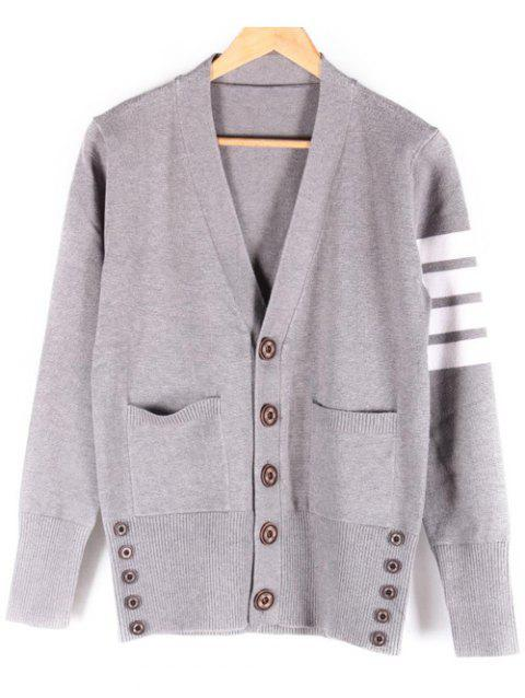 Striped V-Neck Pocket Front Button Up Cardigan - GRAY M