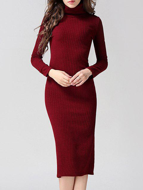 Knitted Back Slit Slimming Bodycon Dress - WINE RED M