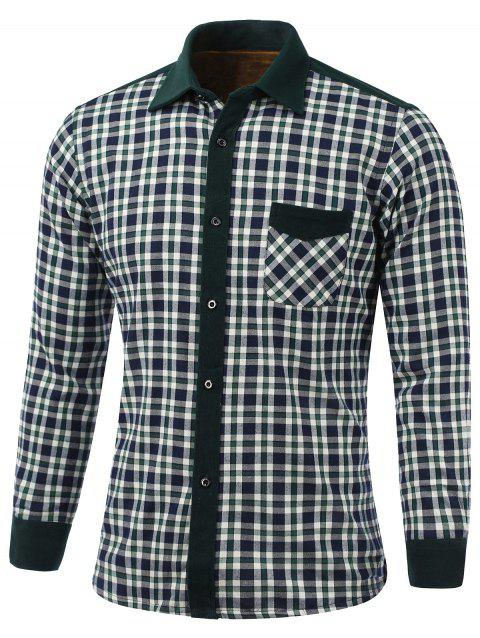 Color Block Plaid Pocket Design Turn-Down Collar Fleece Shirt - WHITE/GREEN XL