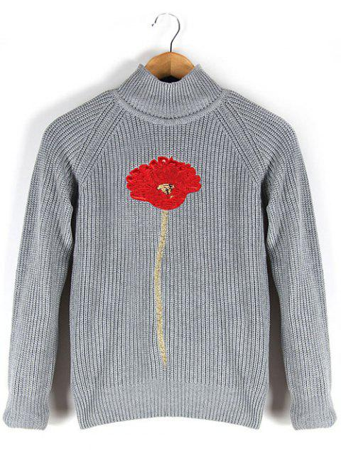 Floral Embroidered Stand Collar Raglan Sleeve Sweater - GRAY M