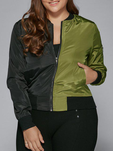 8cce6456a9 17% OFF  2019 Plus Size Color Block Bomber Jacket In ARMY GREEN 2XL ...