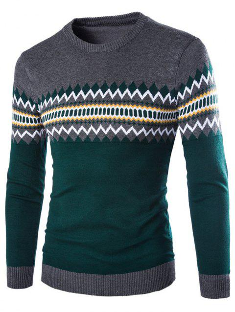 Geometric Pattern Crew Neck Color Block Knitwear - DEEP GRAY 2XL