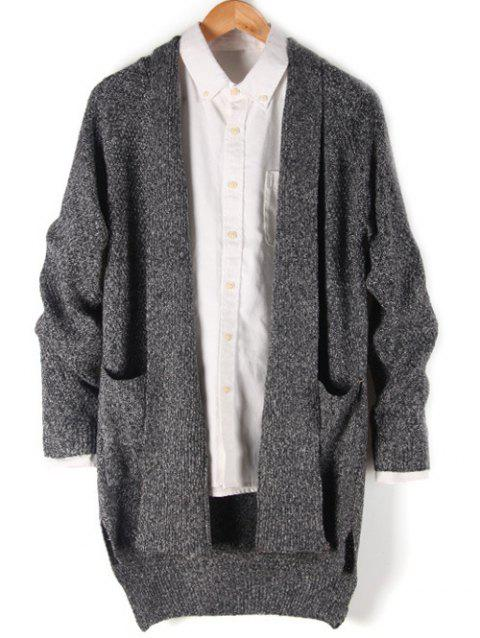 Side Split Pocket Front High Low Cardigan - GRAY XL