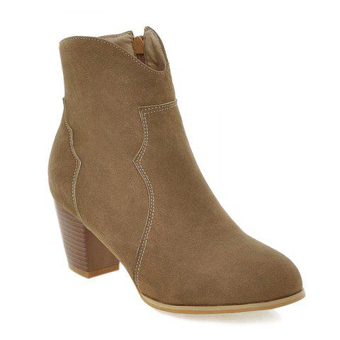 Chunky Heel Suede Zip Ankle Boots - BROWN 37