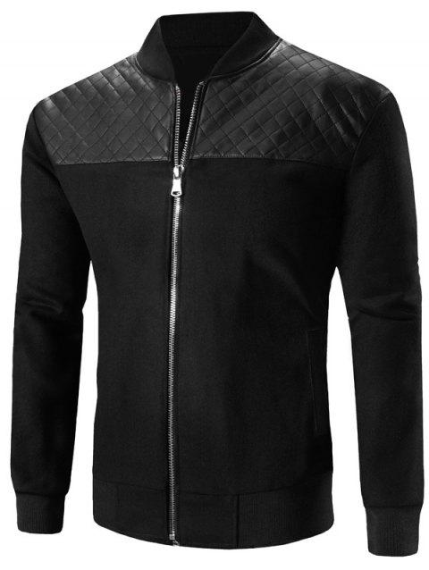 Stand Collar Zip-Up Argyle PU-Leather Spliced Design Jacket - BLACK M