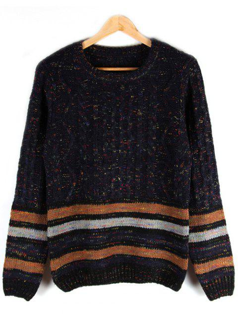 Crew Neck Striped Cable-Knit Sweater - BLACK L