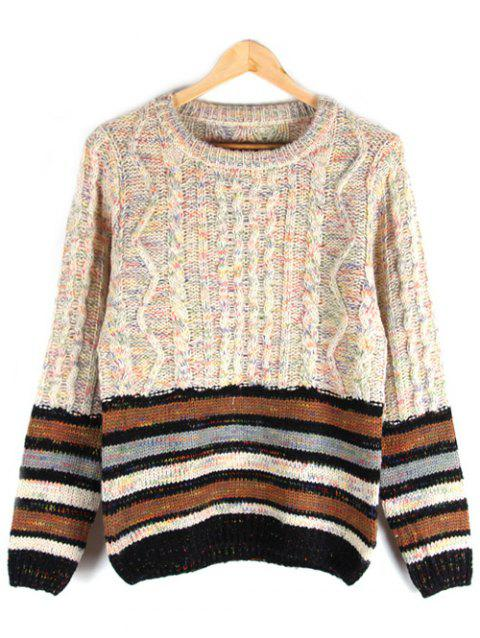 Crew Neck Striped Cable-Knit Sweater - APRICOT 2XL