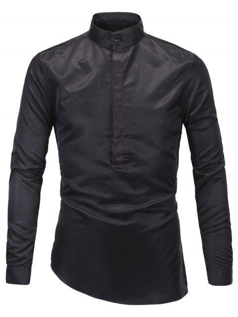 Slim-Fit Stand Collar Half Button Up Shirt - BLACK XL