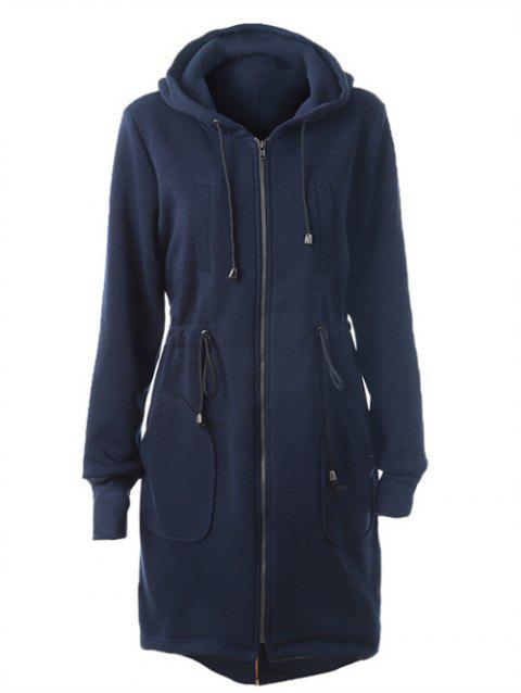 Drawstring Back Zipped Hooded Coat - DEEP BLUE XL