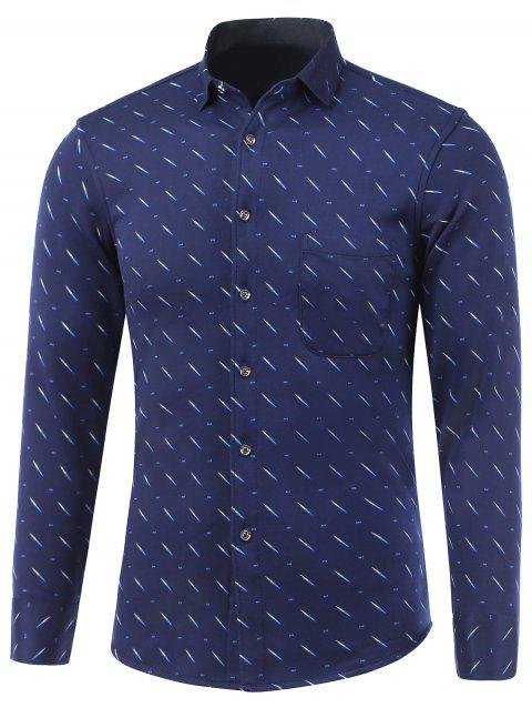 Meteor Motif Pocket Turn-Down Collar Fleece Shirt - Bleu 2XL