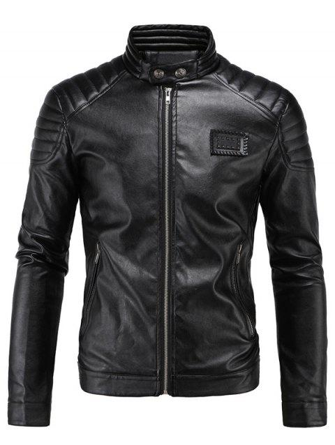 Patch Design Stand Collar Moto PU Jacket - BLACK 5XL