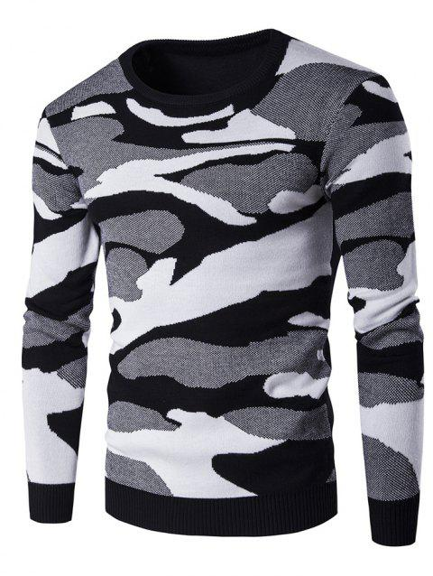 Crew Neck Long Sleeve Camouflage Pattern Sweater - BLACK L